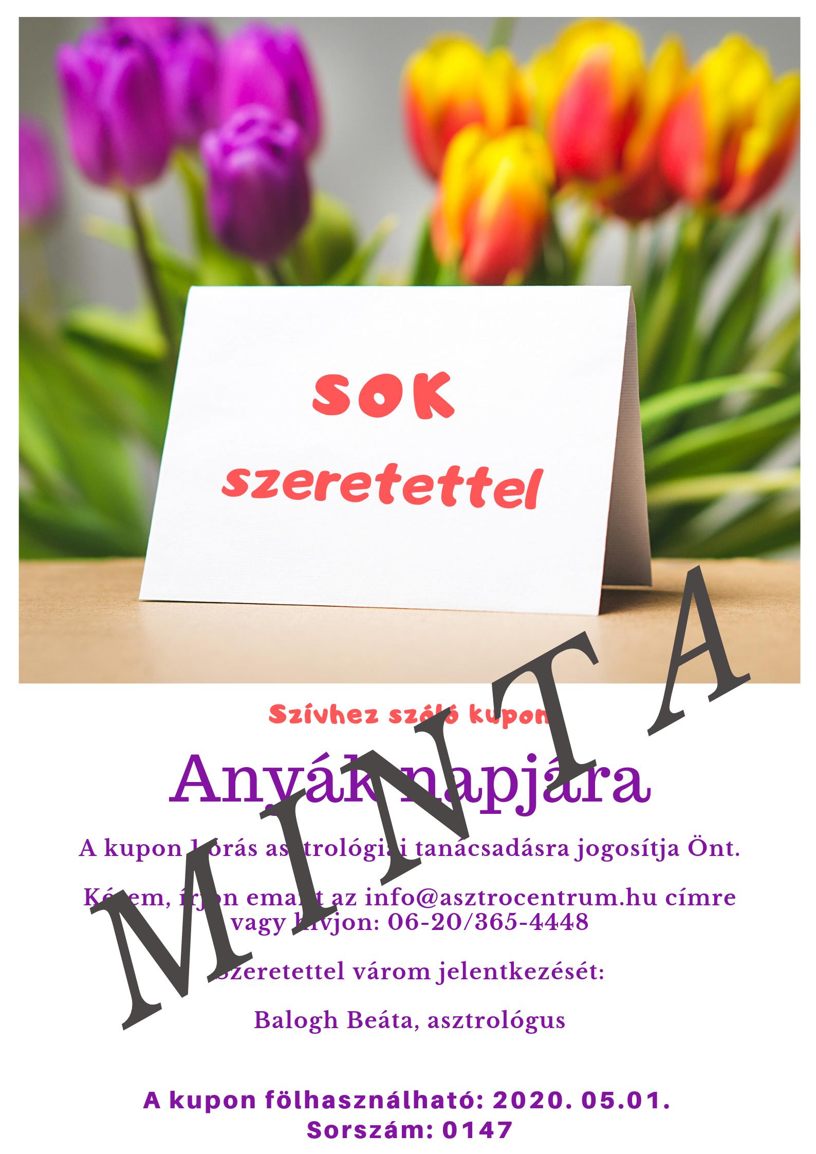 """Anyák napi """"Szívhez szóló"""" kupon"""